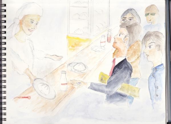 赤羽駅赤羽線ホーム赤食で肉まん20150820r1res.jpg